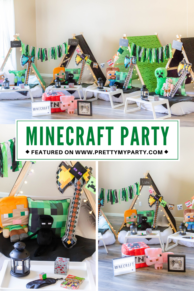 Minecraft Sleepover Teepee Party on Pretty My Party