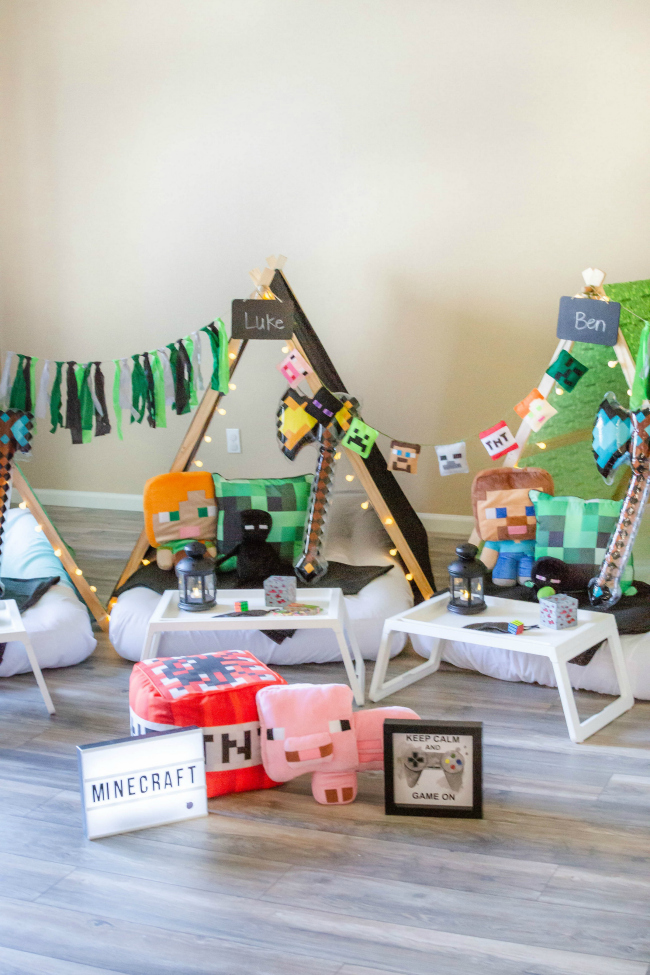 Minecraft Sleepover Teepee Party