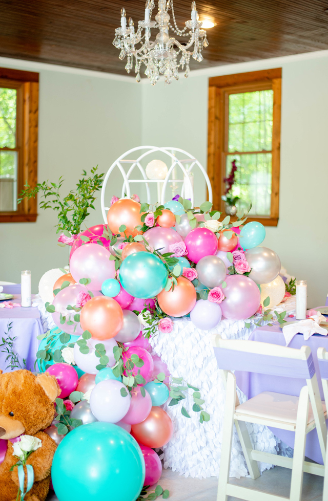 Pastel Balloon Garland With Flowers and Greenery