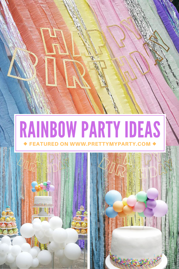Pastel Rainbow Themed Party on Pretty My Party