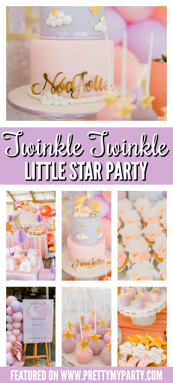 Pastel Twinkle Twinkle Little Star 1st Birthday on Pretty My Party