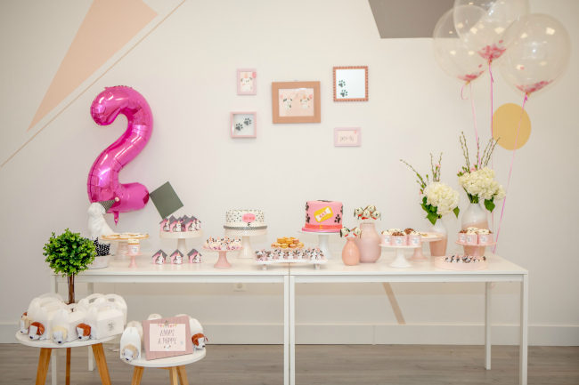 Pink Puppy Party Dessert Table