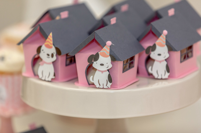 Pink Puppy Favor Boxes