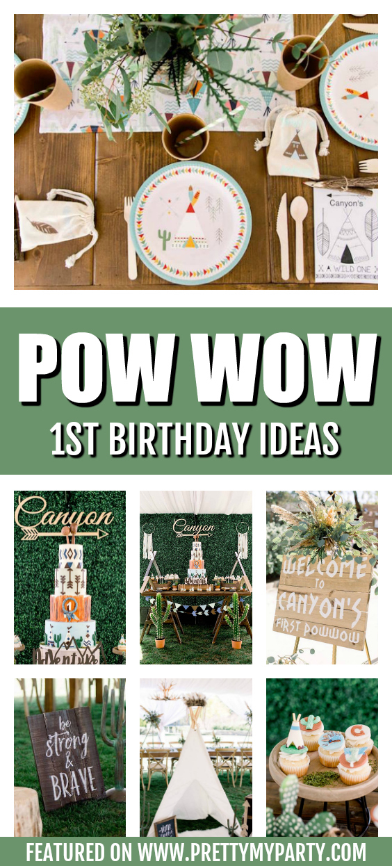 Incredible Pow Wow 1st Birthday Party on Pretty My Party
