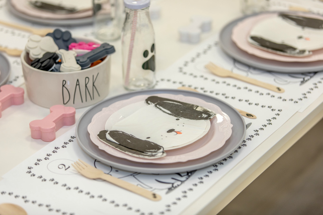 Pink Puppy Party Place Settings