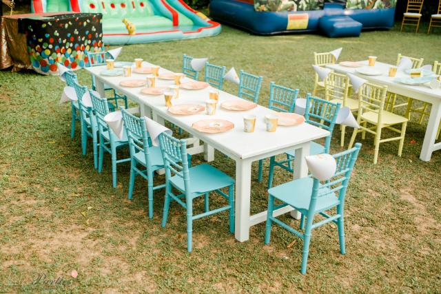 Pastel Blue and Green Party Tables