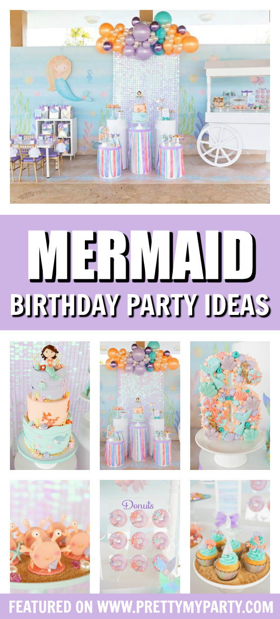 Shimmering Pastel Mermaid Birthday Party on Pretty My Party