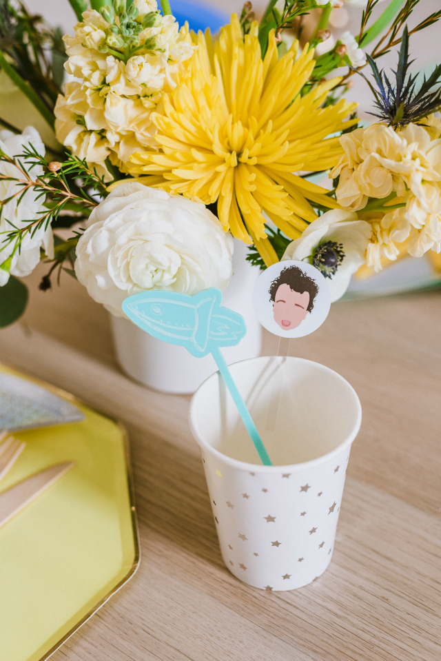 Space Party Cup and Themed Drink Stirrers