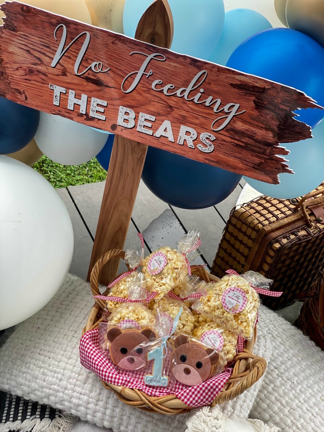 Teddy Bear Picnic Birthday Party Favors Sign