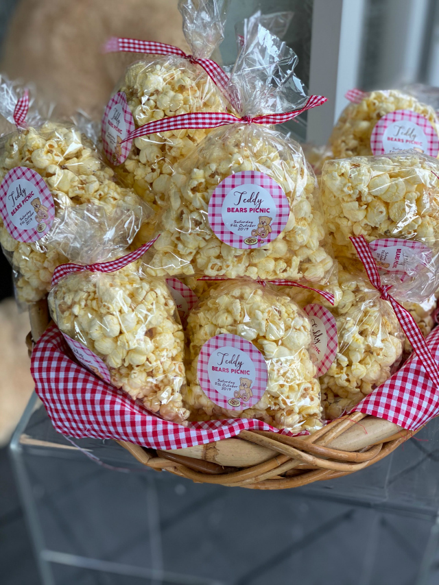Teddy Bear Party Popcorn Favors and Labels