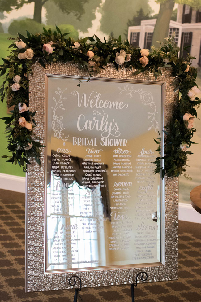 Rose Before the Big Day Bridal Shower Mirrored Welcome Sign