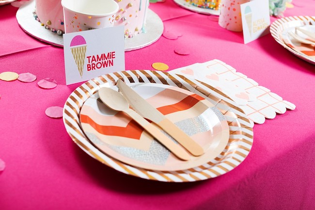 Party plates, napkins and utensils