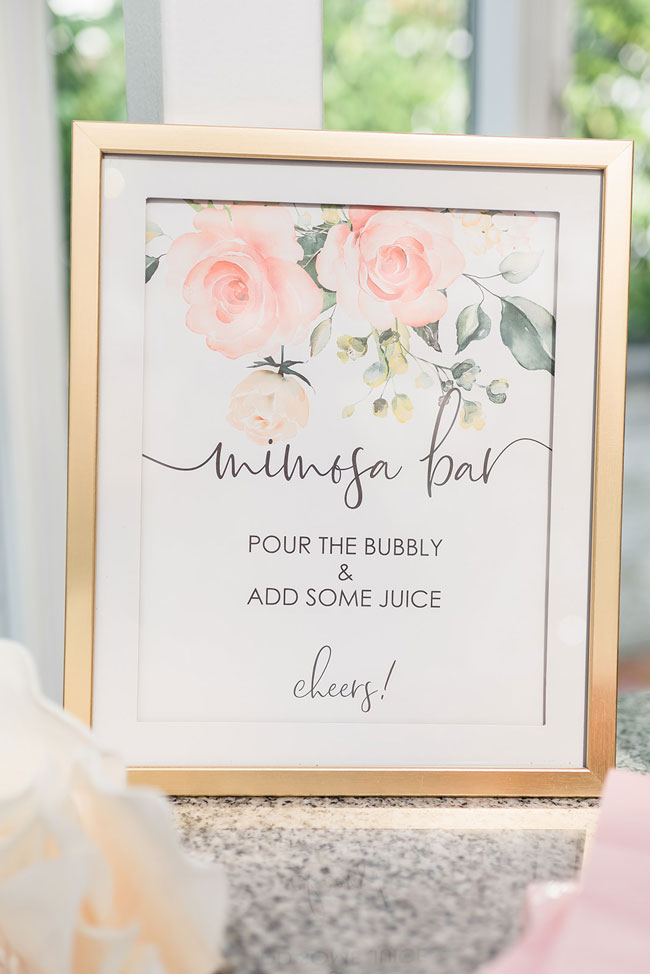Indoor Garden Party Bridal Shower Mimosa Bar Sign