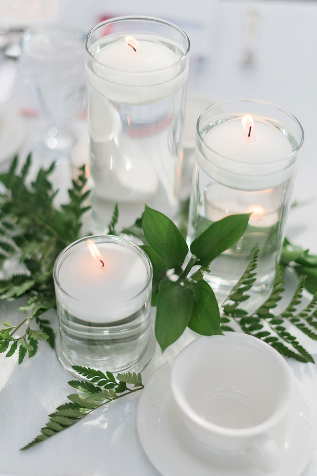 Indoor Garden Party Bridal Shower Candle Centerpiece