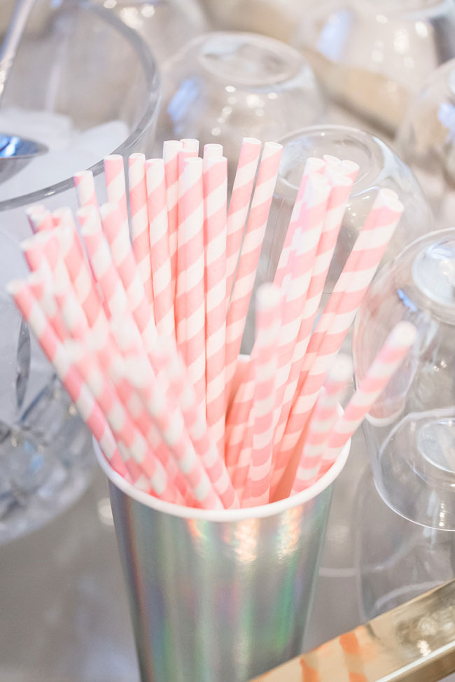 Pink and White Striped Straws