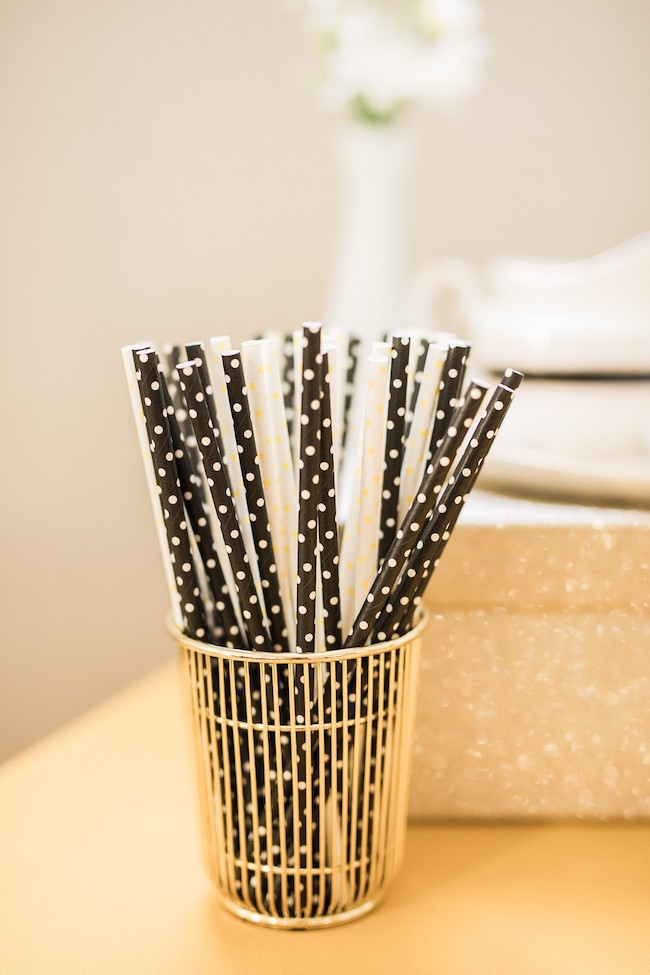 Black and White Polka Dot Paper Straws