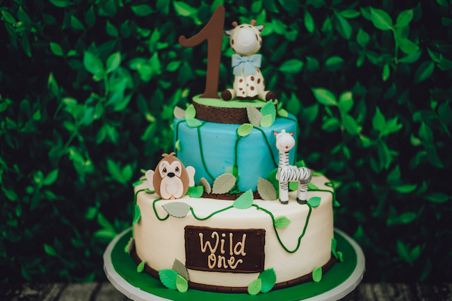 Safari Animal Wild One Birthday Cake