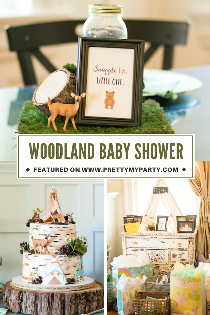 Rustic Woodland Animal Baby Shower on Pretty My Party