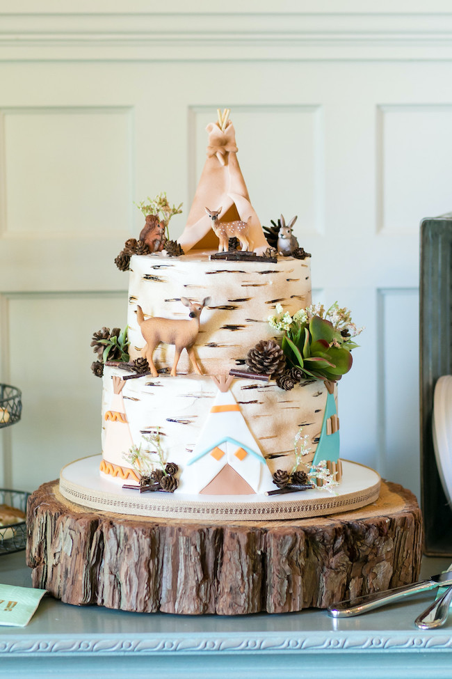 Woodland Animal Baby Shower Cake