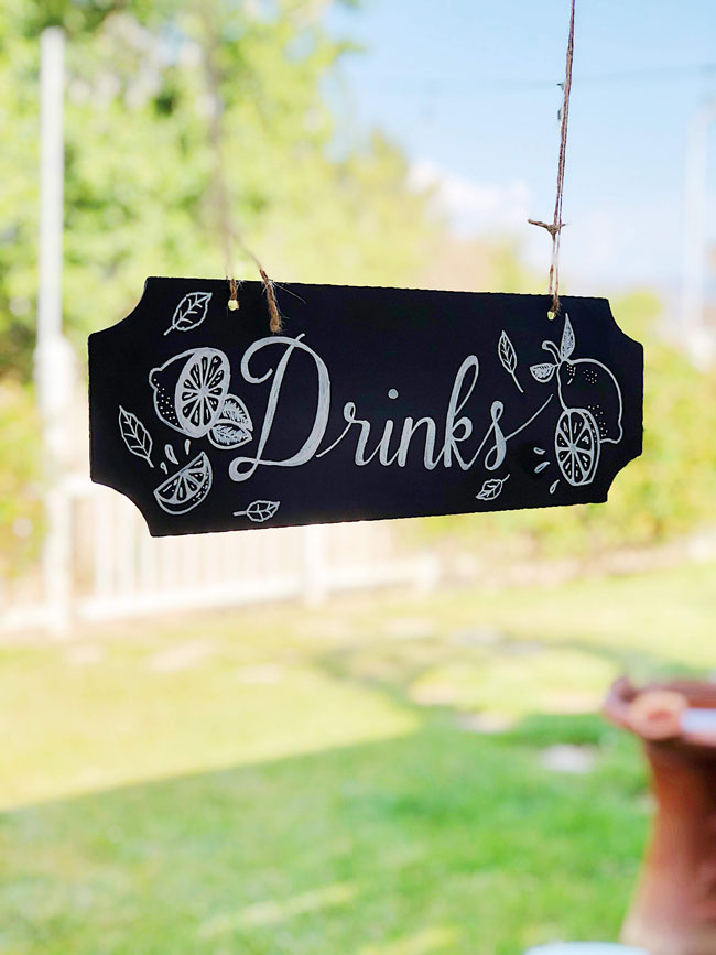 Lemon Themed Baby Shower Drink Sign