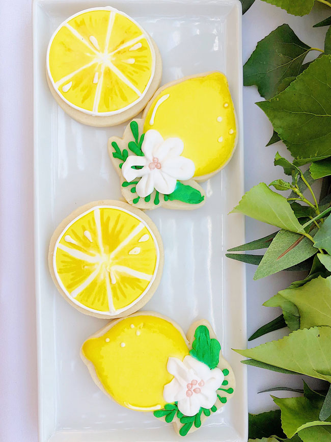 Lemon Themed Baby Shower Sugar Cookies