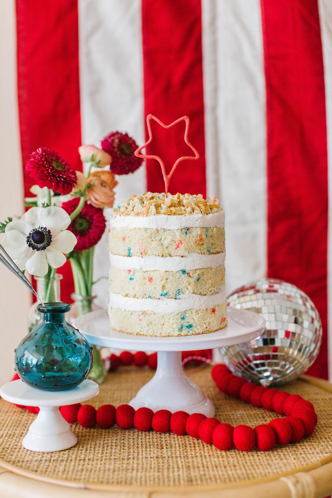 Naked COnfetti Fourth of July Cake