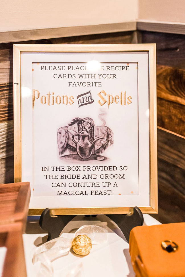 Magical Harry Potter Bridal Shower Recipe Sign