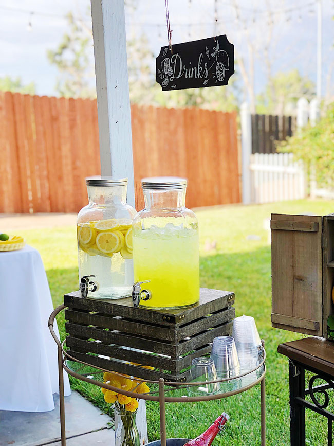Lemon Themed Baby Shower Drink Station