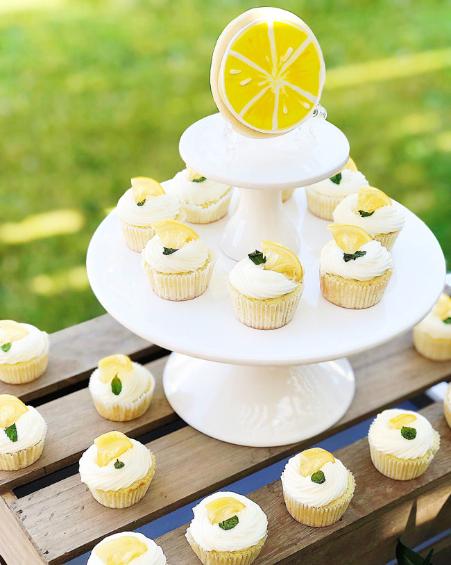 Lemon Themed Baby Shower Cupcakes
