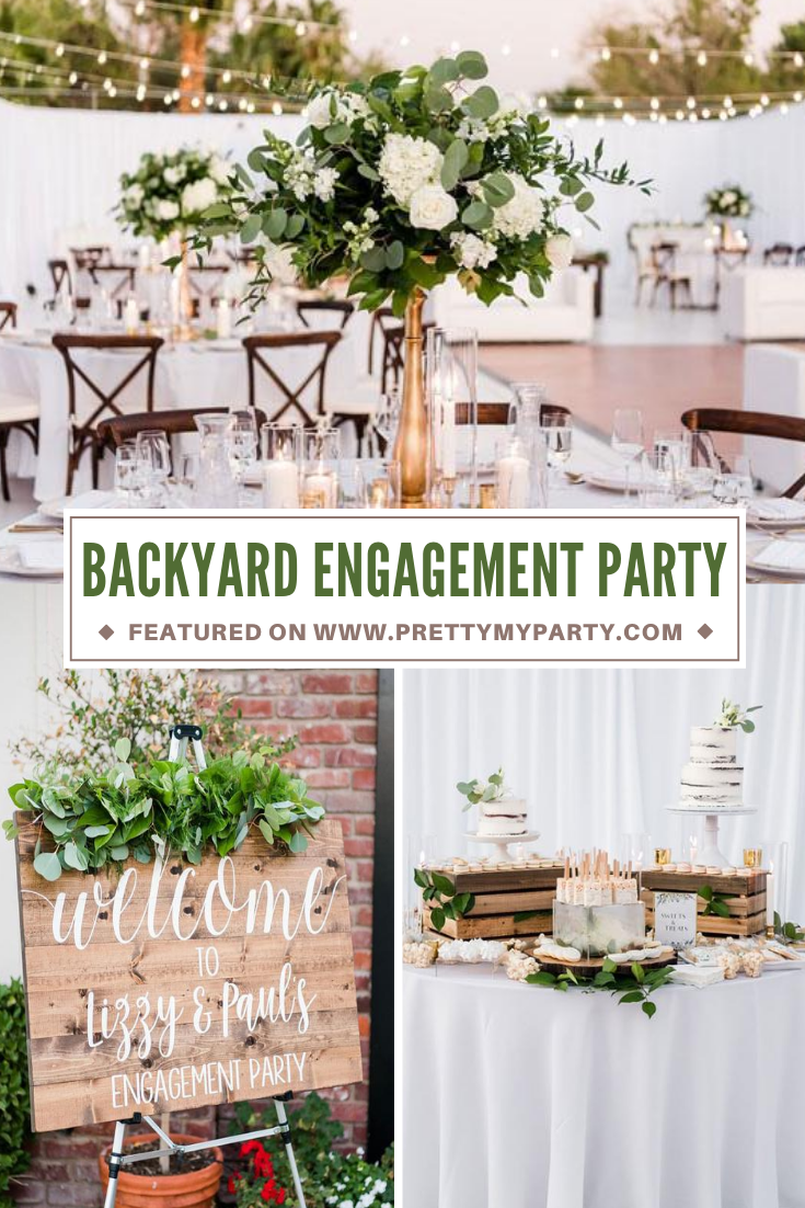 Elegant White Backyard Engagement Party on Pretty My Party