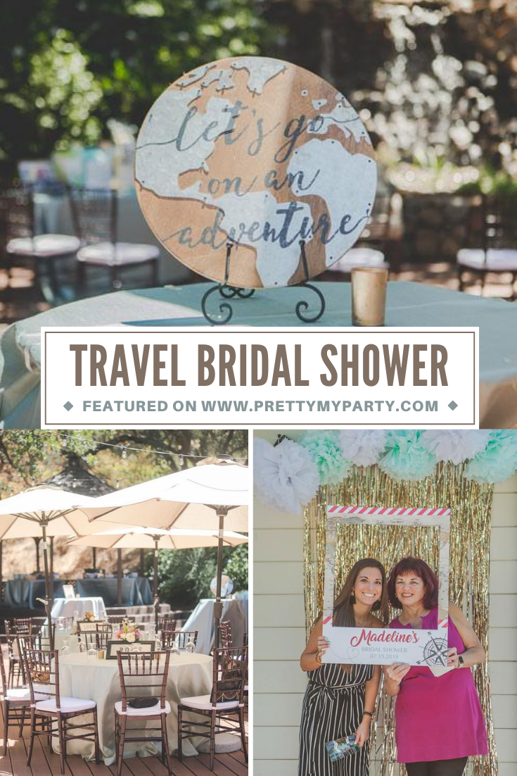 Travel Themed Bridal Shower on Pretty My Party