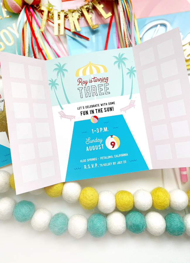 Palm Springs Beach Ball Birthday Invitation