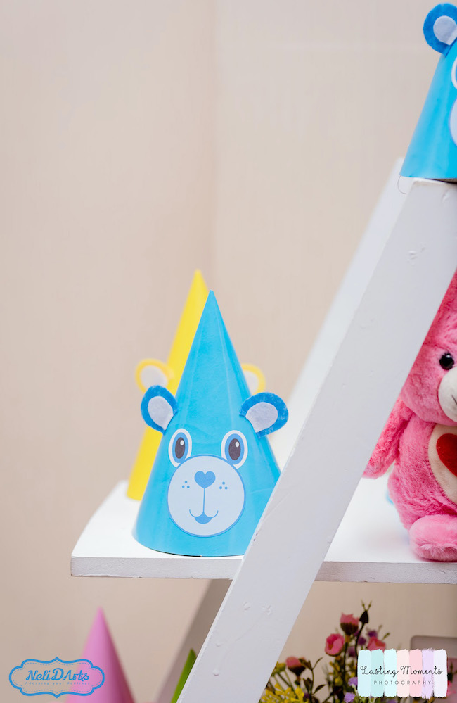 Pastel Care Bear Birthday Party Hat