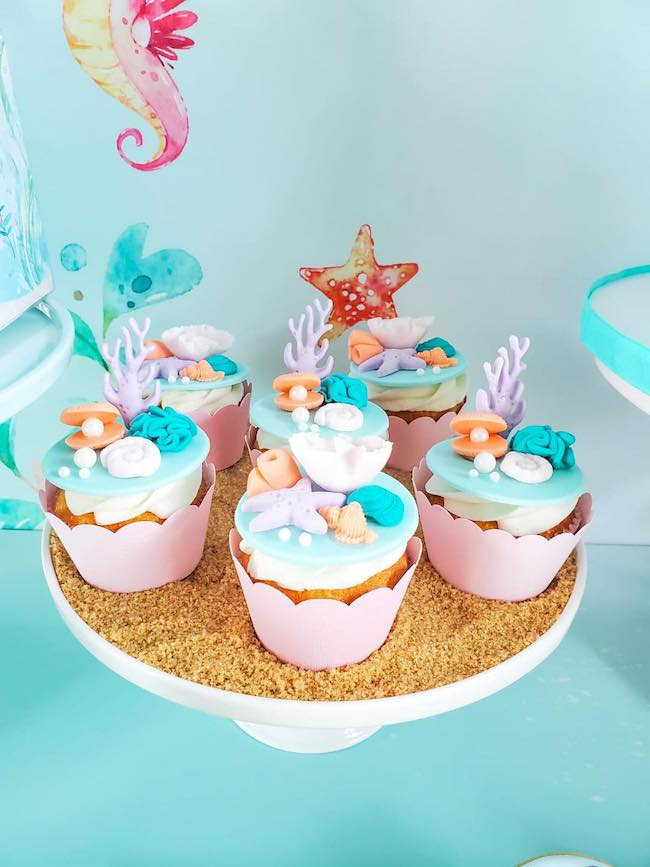 Under the Sea Themed Party Cupcakes