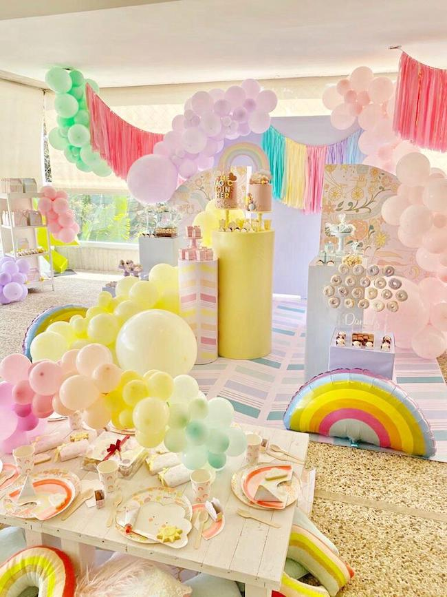 Happy Doodle Pastel Rainbow Party on Pretty My Party